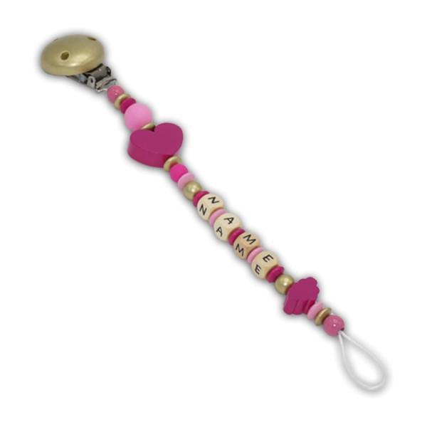 Schnullerkette Wolkenherz - mit Name - Mädchenschnullerkette - wolke - herz - silikon - pink - rosa - gold - babyrosa
