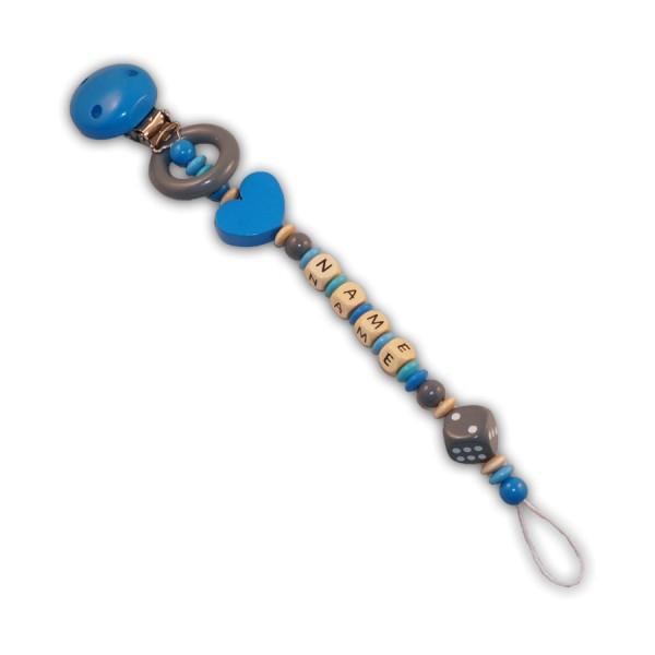 Schnullerkette Herzwürfel - mit Name - Jungeschnullerkette - herz - würfel - ring - blau - grau