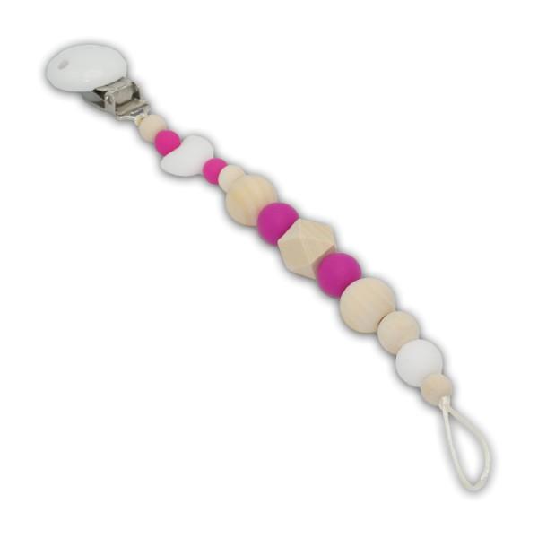 Schnullerkette Herzi - Mädchenschnullerkette - sikon - herz - silkonherz - hexagon - pink - natura - weiß