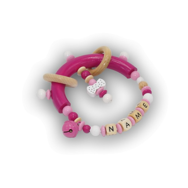 greifling, schleife, glocke, ringe, rillenperle, pink, rosa, natur, weiß