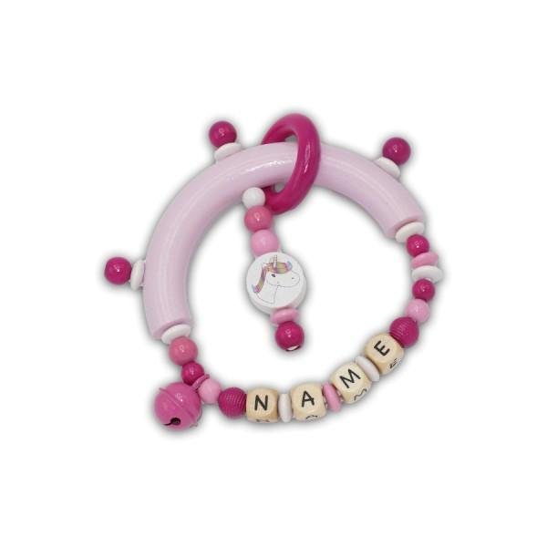 greifling, glocke, einhorn, ring, rillenperlen, babyrosa, pink, dunkelpink, weiß