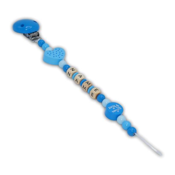 Schnullerkette Blauer-Prinz - mit Name - Jungeschnullerkette - kleiner Prinz - Herz mit Punkten - babyblau - skyblau - mittelblau