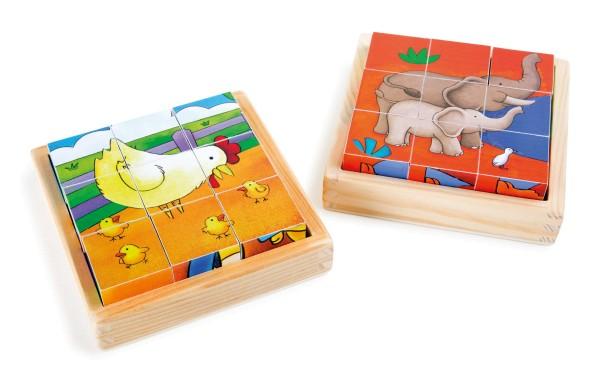 Legler, Würfelpuzzle, Bauernhof, Zoo, 2er, Set, 4020972100764, 10076