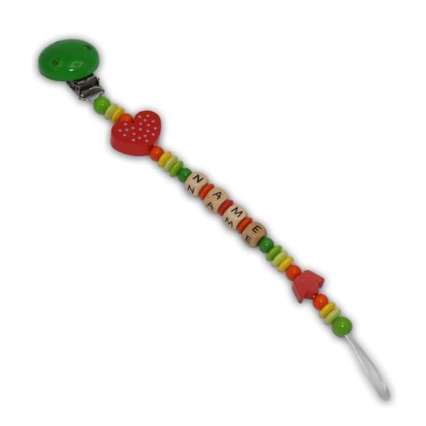 Schnullerkette Hippie - mit Name - Jungeschnullerkette - hippie - herz - krone - lemon - gelbgrün - grün - gelb - orange - rot - regenbogenfarben