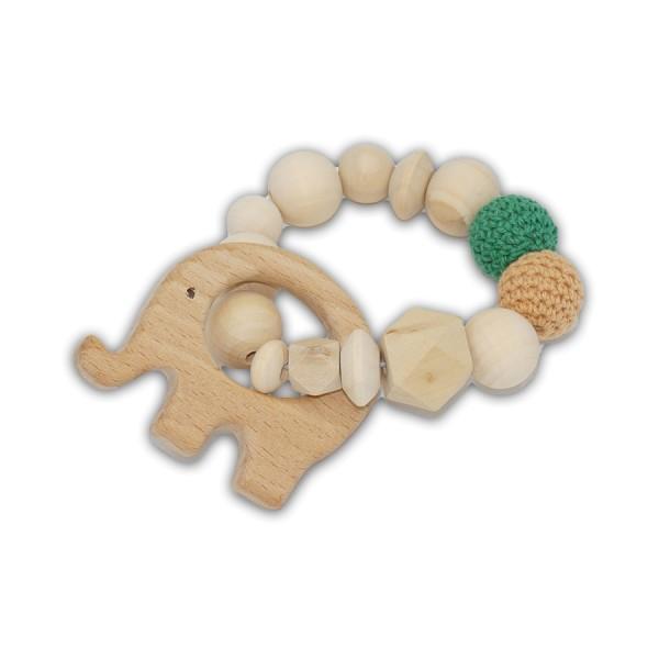 greifling, elefant, hexagon, häkelperle, dunkelgrün, sand