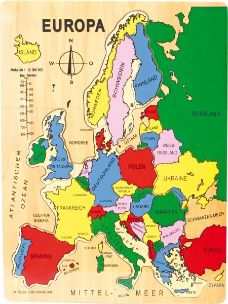 Legler, Puzzle, Europa, 14, Teile, 4020972072658, 7265