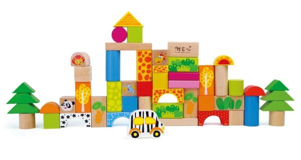 Legler, Holzbausteine, Zoo, 50, Teile, 4020972042323, 4232