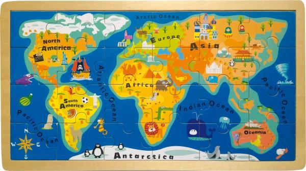 Legler, Rahmenpuzzle, Weltkarte, 24, Teile, 4020972042408, 4240