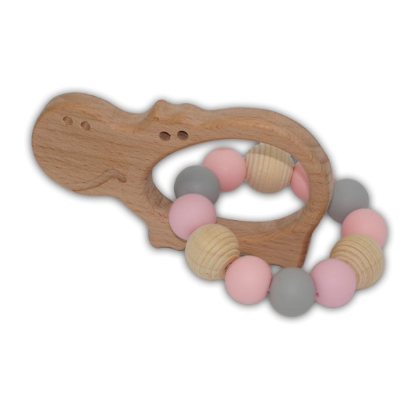 greifling, silikon, ringe, rillenperle, rosa, grau, natura, nilpferd