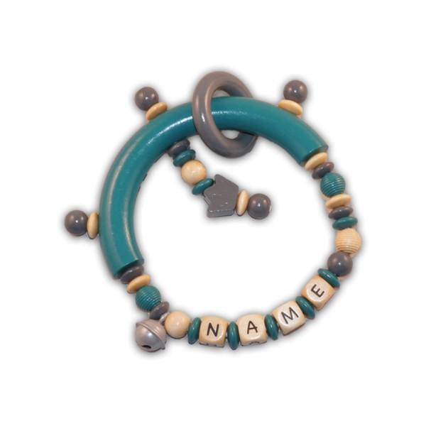 greifling, glocke, ring, krone, rillenperle, türkis, grau