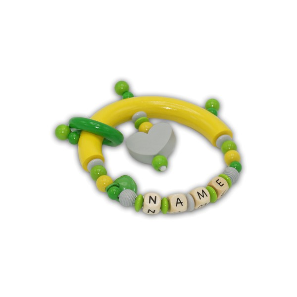 greifling, herz, glocke, ring, rillenperle, gelb, hellgrau, grün