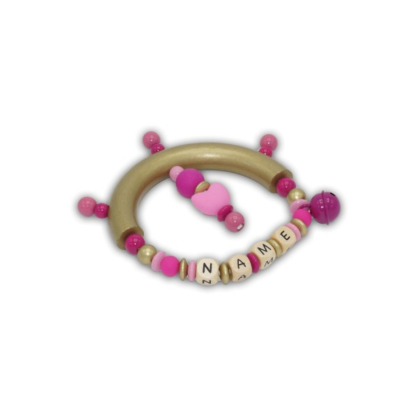 greifling, glocke, herz, silikon, pink, rosa, gold, babyrosa