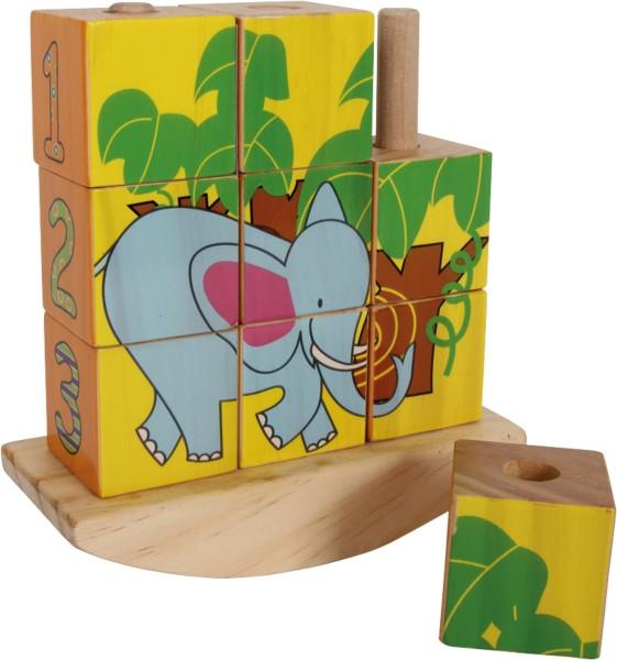 Legler, Steck-Würfelpuzzle, Panda, 9, Teile, 4020972085566, 8556