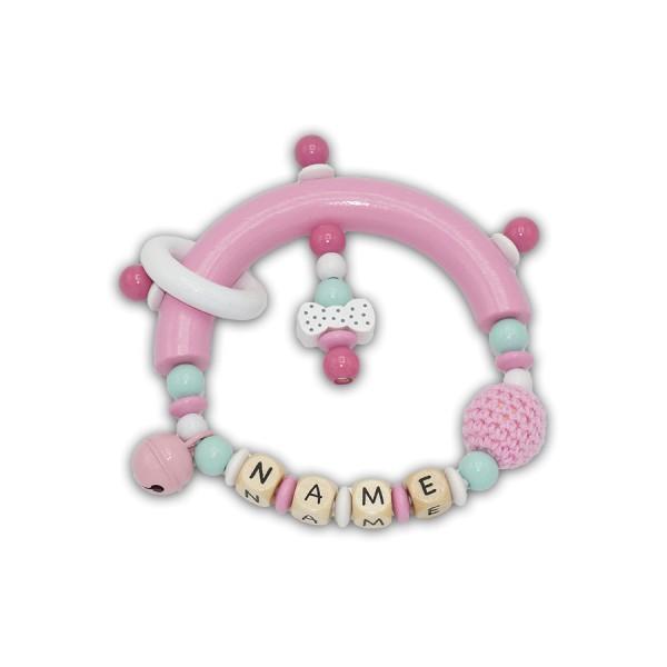 greifling, glocke, häkelperle, schleife, ring, pink, babyrosa, mint, weiß