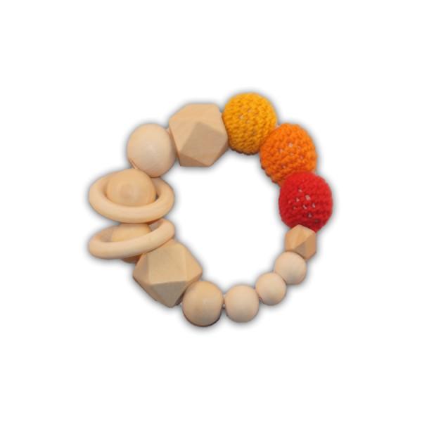 greifling, häkelkugel, hexagon, ringe, gelb, orange, rot