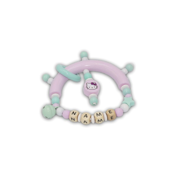 greifling, hello kitty, rillenperlen, rosa, mint, weiß, stern, glocke, ring, silikon