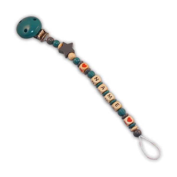Schnullerkette Sternenherz - mit Name - Jungeschnullerkette - stern - herz - rillenperle - türkis - grau